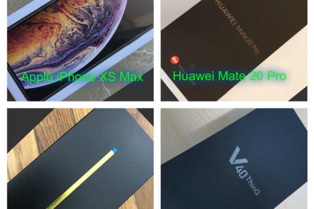 iPhone XS Max y Huawei Mate 20 Pro y Samsung Note 9 y LG V40 ThinQ